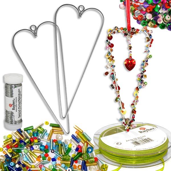 Perlen-Herzen Bastelset, Drahtherzen, Perlenmix, Band