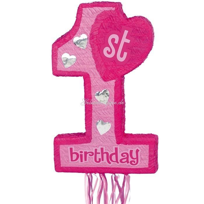 Zugpinata Zahl 1 pink für den 1. Kindergeburtstag Mädchen, 75×36cm