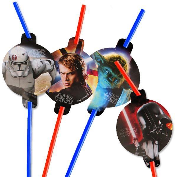 Star Wars Trinkhalme im 8er Pack, Trinkröhrchen aus Plastik mit Motiv