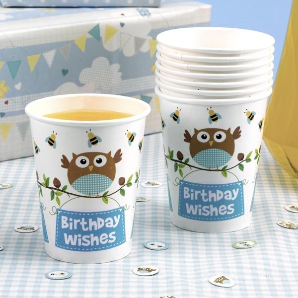 """Kleine Eule """"Birthday Wishes"""" Partybecher, 8 Stk"""