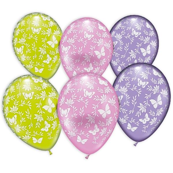 Bunte Ballons mit weißen Schmetterlingen, im 6er Pack