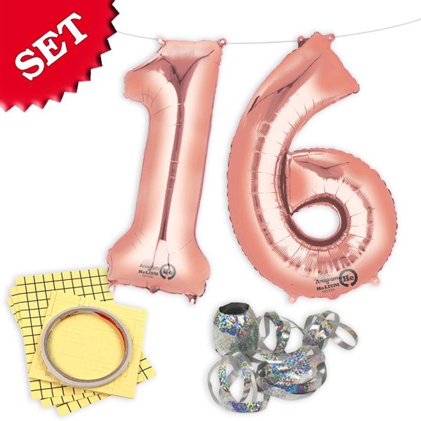 "XXL Folieballons Zahl ""16"", rose gold"