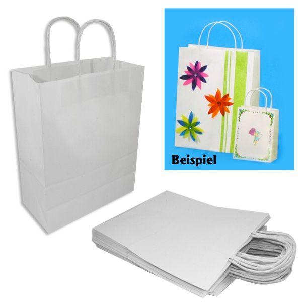 20 Weiße Papiertaschen MITTEL, starkes Material, 18cm x 8cm x 21cm, zum Gestalten