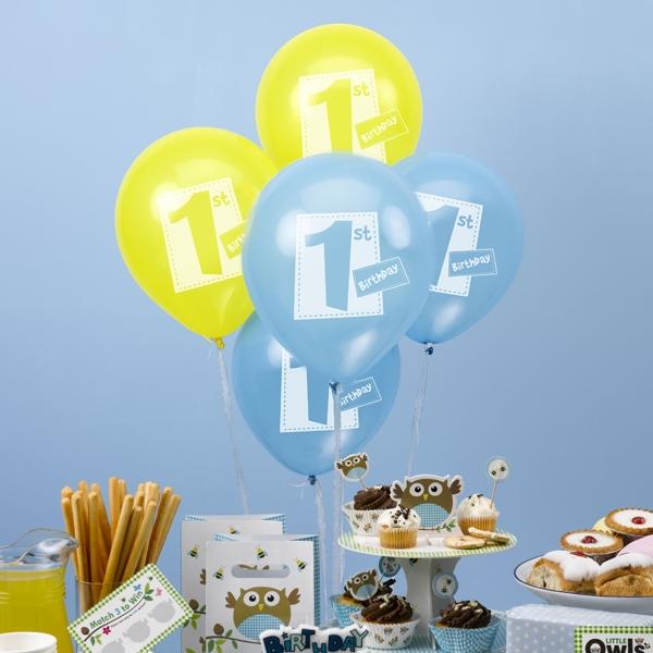 Kleine Eule 1st Birthday Ballons, 8er Pack, blau, gelb, Eulen Raumdekoration Party