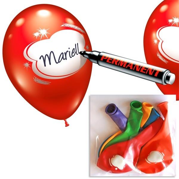 Luftballons zum Beschreiben, 6 Stk. +Schriftfeld in Weiß, tolle Idee
