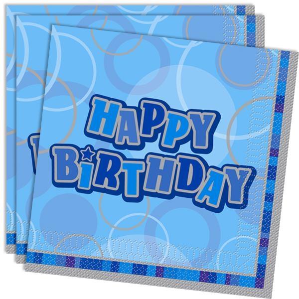 Happy Birthday – Servietten in knallig Blau, 16er Pack