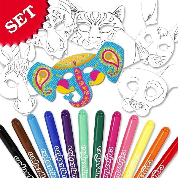 Malset für 6 hübsche Tiermasken +Gummi + 12 Colortime Filzmaler