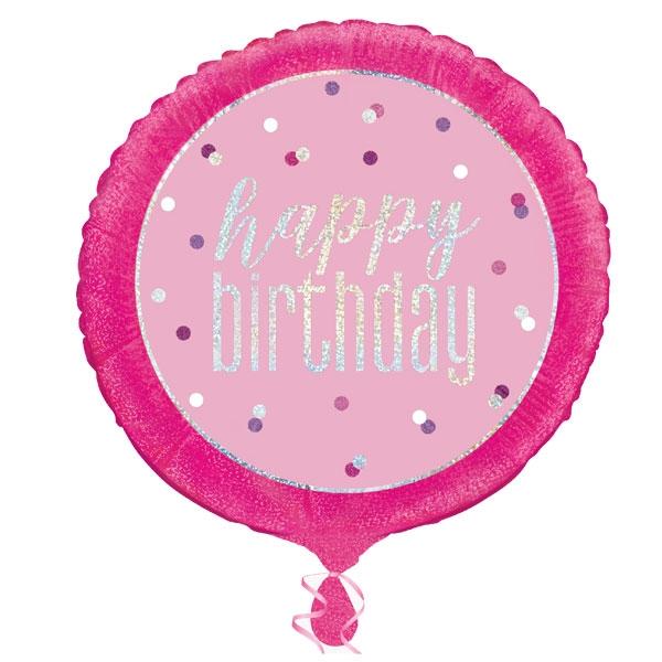 Glitzernder Happy Birthday-Ballon, prismatisch, ca. 45cm, zur Heliumbefüllung geeignet