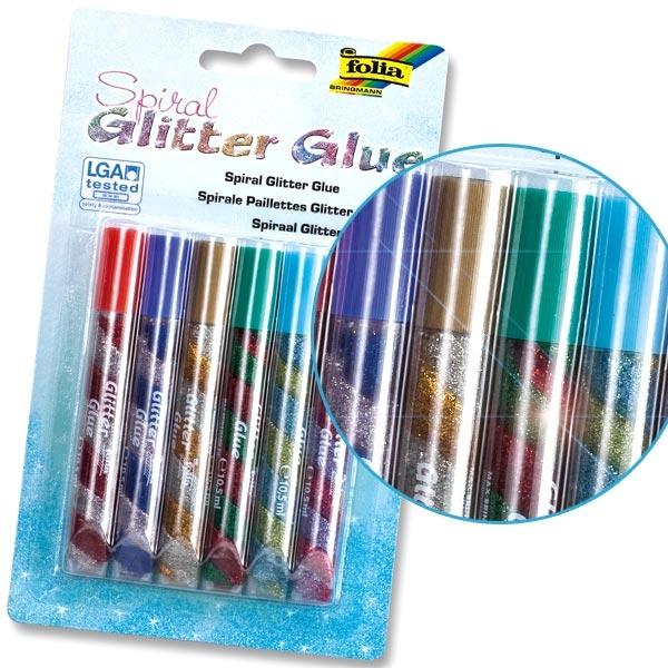 Glitter-Glue Spiralen Standard, 6er Pack, mit eingedrehten Farben, Bastel-Idee, Glitzer Klebstoff