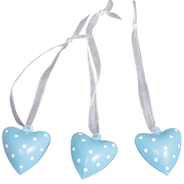 Glöckchen-Herzen blau im 6er Pack als Geschenkanhänger für Mädchen