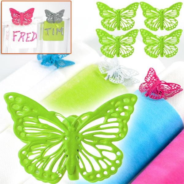 Schmetterlings-Klammern, 4er Pack, Limettengrün, aus Metall, Partydeko, 3,5x3cm