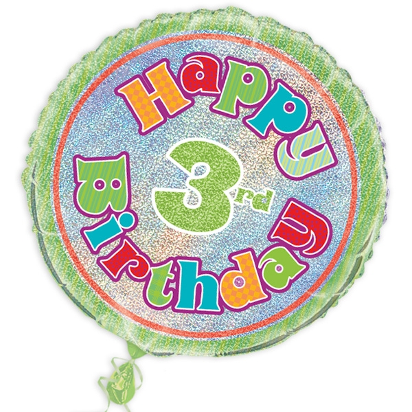 "Folienballon ""Happy 3rd Birthday"", prismatisch, Ø 45cm"