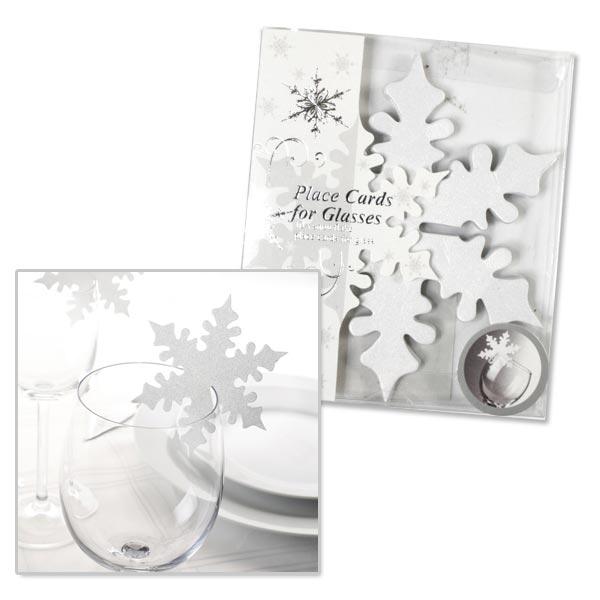 Schneeflocken - schimmernde Glasdeko, Namensschildchen, 10 Stk