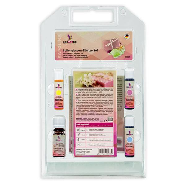 Sapolina Seifengiesen Starter-Set, mit 1 x Seifenduftöl, 3 x Seifenfarbe, Seifenblock 300 g und 7 Giessformen