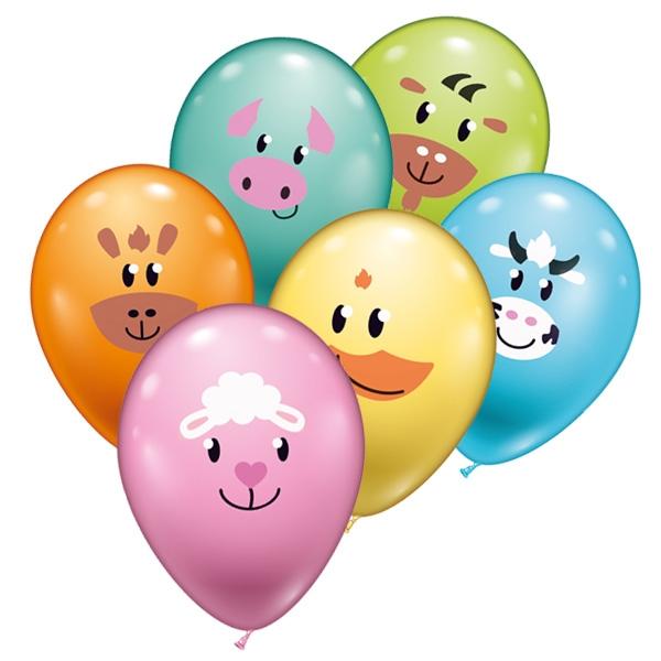 Bauernhoftiere, Ballons im 6er Pack mit verschiedenen Tiergesichtern