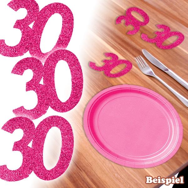 Glitzer-Zahlen 30 in Pink, 6er, Streudeko zum 30. Geburtstag