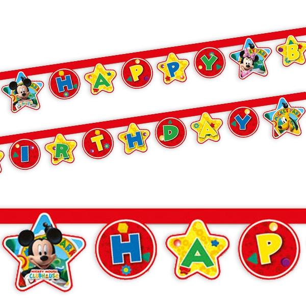 Mickey Maus Buchstabenkette mit Happy Birthday Glückwunsch, 2,1m