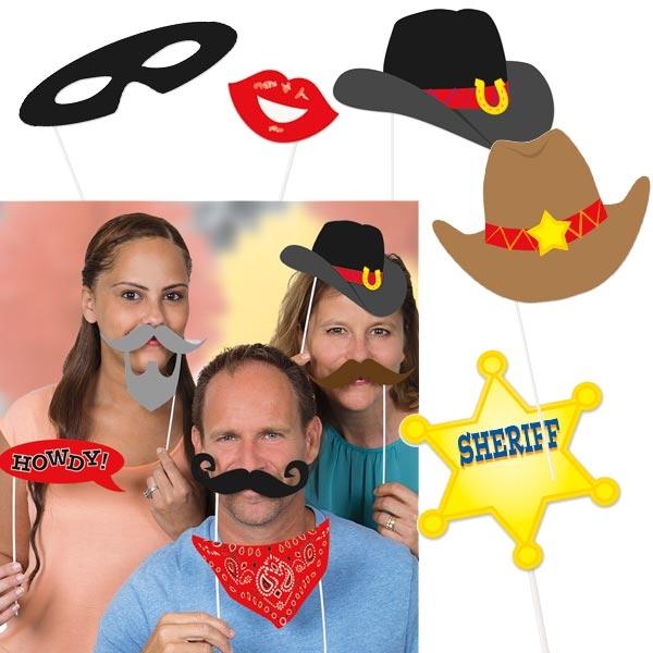 Selfie Requisiten für Fotos, 10tlg, Bärte, Masken, Cowboyhüte…