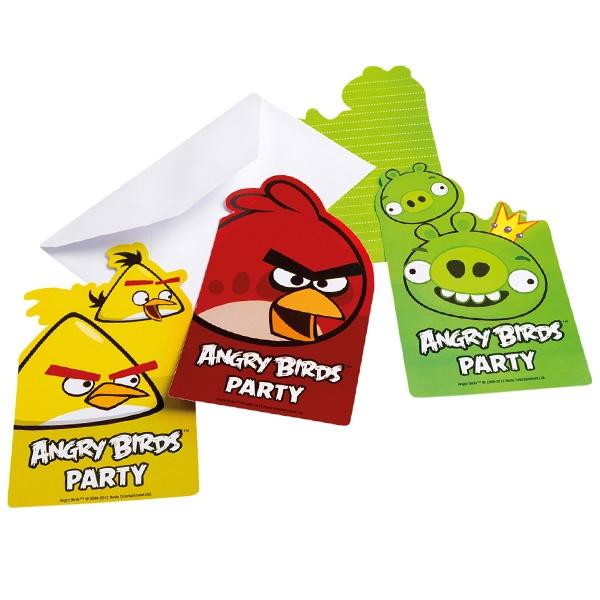 Angry Birds Einladungen 6er Pack, witzige Einladungskarten für Kinder