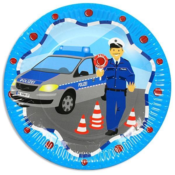 Polizei-Partyteller im 8er Pack, 23cm, Pappteller mit Polizeiauto für Kinder