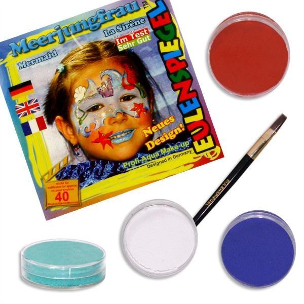 Schminkset Meerjungfrau schminken, 4 Farben, Pinsel und Anleitung