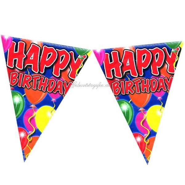 """Wimpelkette """"Happy Birthday"""", PVC, 10m, beeindruckende Geburtstagsdeko"""