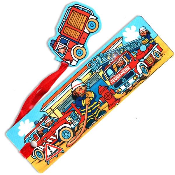 Glitter Lesezeichen Feuerwehr, Kinderlesezeichen mit Stoffband, Pappe, 1 Stück