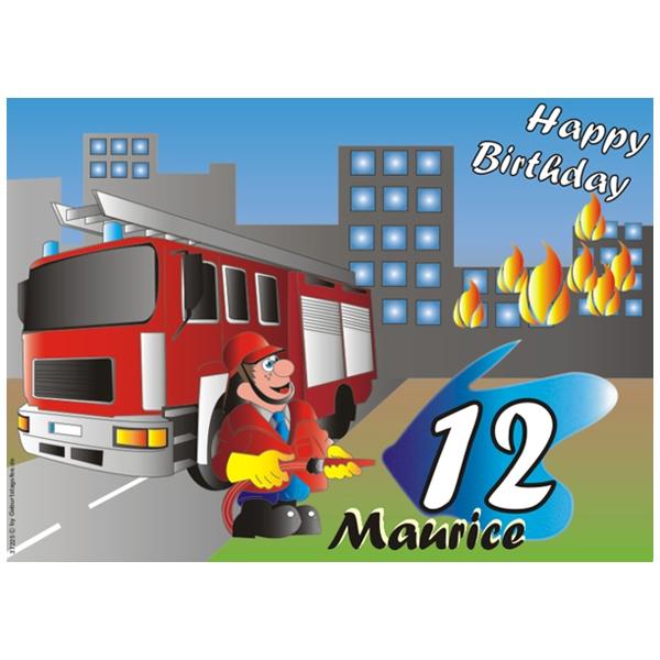 Feuerwehr-Tortenaufleger eckig+Name, ZA5