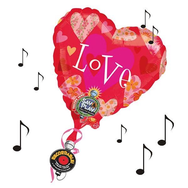 Riesiger Herzballon mit Aufnahmefunktion, bei Anstupsen wird die Nachricht abgespielt, ca. 81x81cm