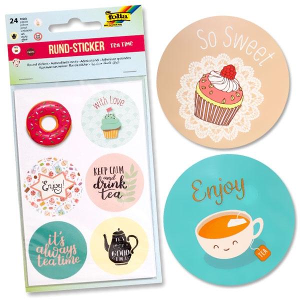 Sticker Set Teatime, 24 runde Motive in der feinen englischen Art