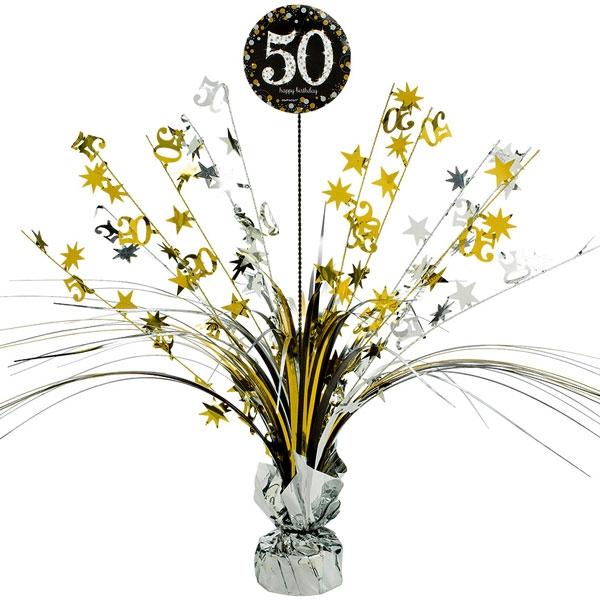 Sparkling Celebr. Tischkaskade 50. Geburtstag, golden, 46cm