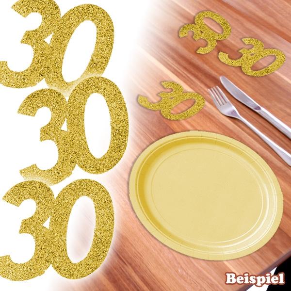 Glitzer-Zahlen 30 in Gold, 6 × 5cm, für 30. Geburtstag / Jubiläum, Pappe