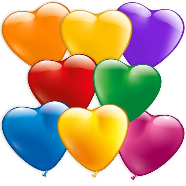 Herzballons bunt, 20er Pck, 15cm, herzförmige Ballons aus Latex