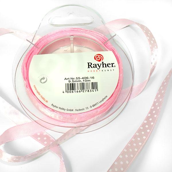 Satinband mit Punkten, rosa, 10m, das Seidenband ist traumhaft schön