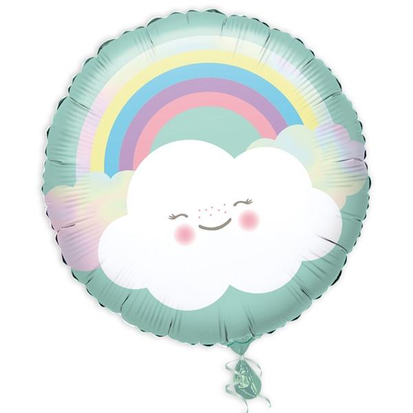 Wölkchen & Regenbogen, runder Folienballon, 34cm