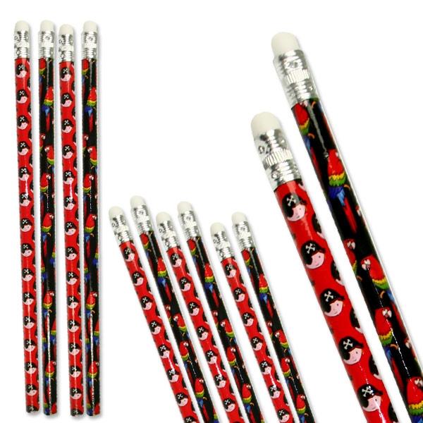 Piraten-Bleistifte mit Radiergummi als Mitgebsel für Piratenparty, 12 Stk