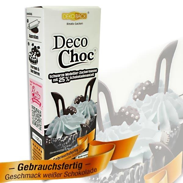 Deko Choc 100g Schwarz, Geschmack Weißer Schokolade, Modelliermasse, konsistent auch auf Sahne