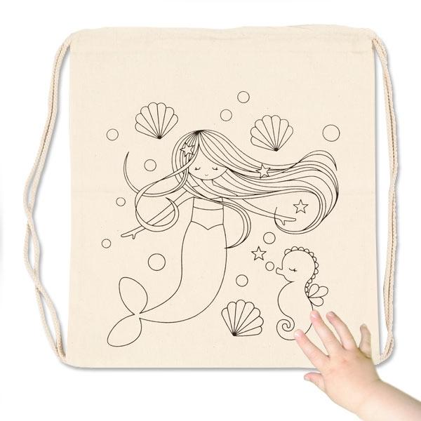 Meerjungfrau Beutel zum Bemalen, Baumwolle, 37x41cm, 1 Stk