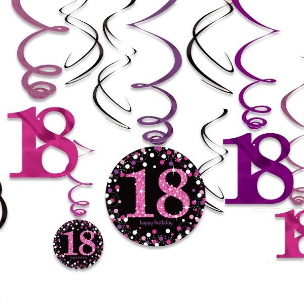 Sparkling Celebr. Spiralen pink, Zahl 18, 12-teilig