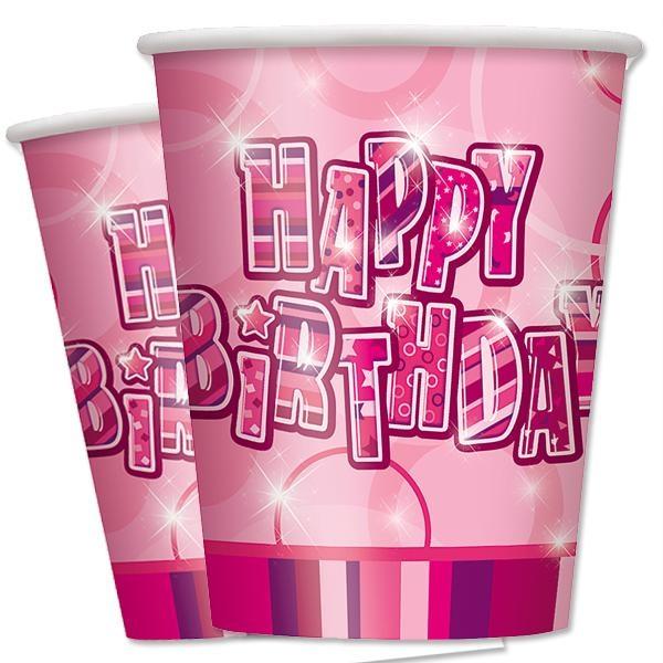 Happy Birthday – Pappbecher in knallig Pink, 8er Pack