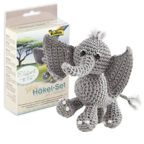 Häkelset Mini Elefant, Kuscheltier häkeln lernen mit Anleitung etc.