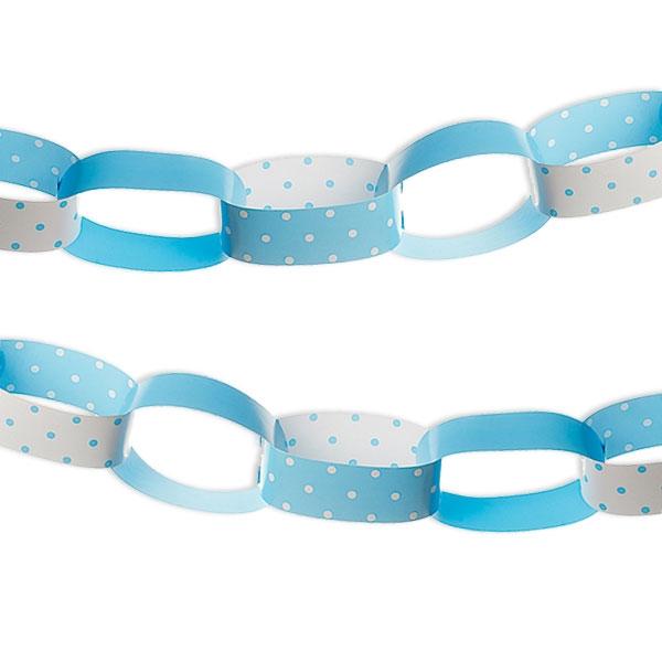 Papier-Kette, hellblau/weiß, 1 Stück, 2,5 m