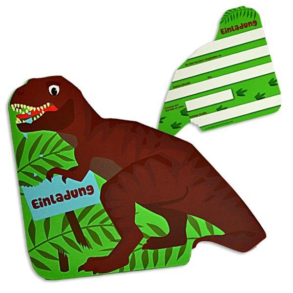 Einladungskarten in T-Rex-Form, 6er Pack, mit Textfeldern 16 × 12 cm