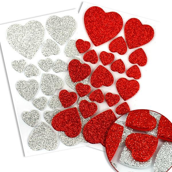 Glitzersticker aus Moosgummi, 40 wunderschöne Herzen in Rot und Silber