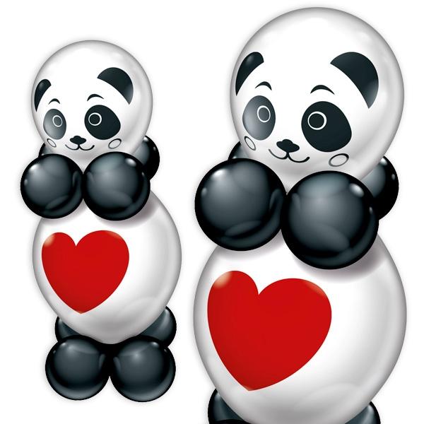 Panda Ballonfiguren im 2er-Set mit Anleitung, tolles Geschenk, 60cm