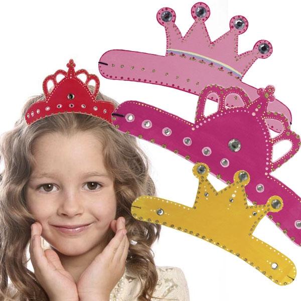 Princess- Kronen,Trio kleine Prinzessin, 25x11 cm, zum Bemalen, mit Strass-Steinchen, Pappe