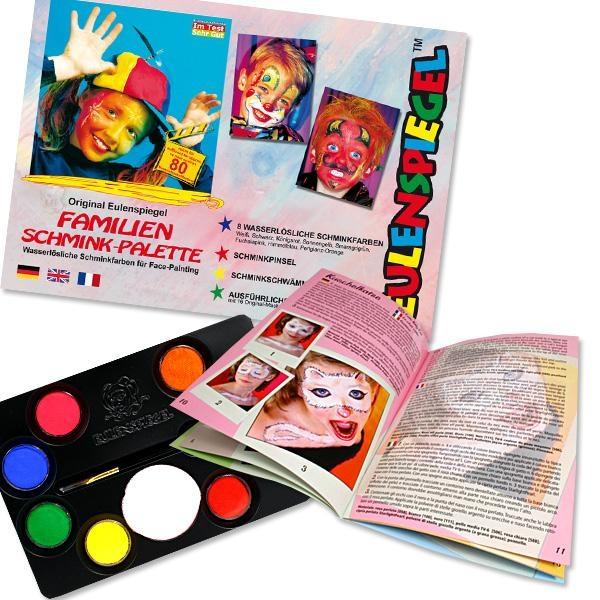 Schminkpalette Profi Aqua komplett mit 8 Farben, Anleitung, Pinsel etc.