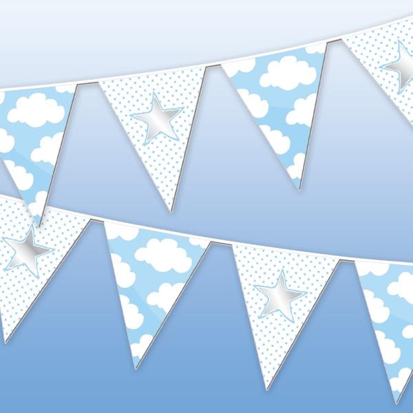 Wölkchen-Wimpelkette blau für Babyparty Jungs, 10m, 1 Stück