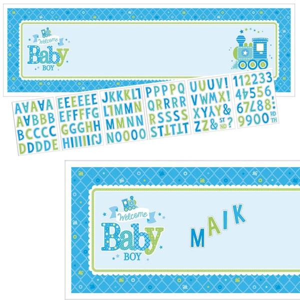 Welcome Baby Boy Personalisierbarer Banner mit Stickern, 165,1cm x 50,8cm