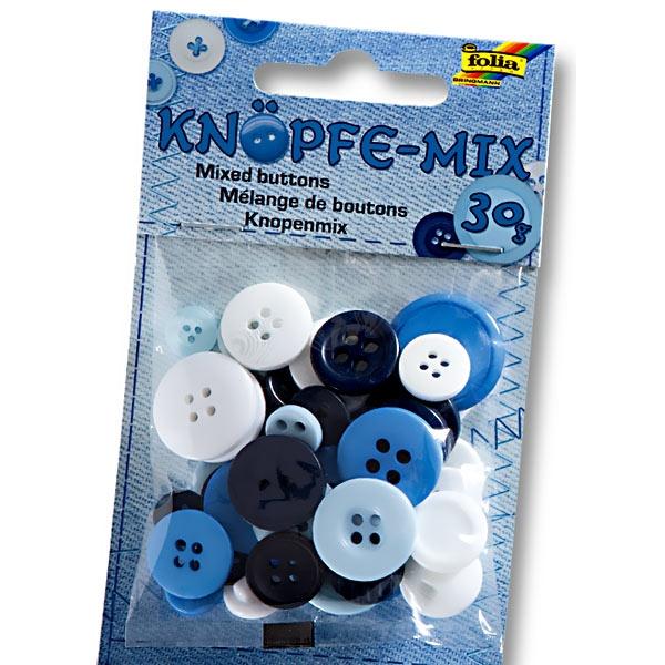 Knöpfe-Mix in blauer Farbe, versch. Formen und Größen, 30g Packung